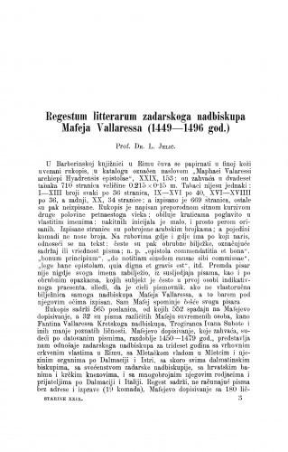 Regestum litterarum zadarskoga nadbiskupa Mafeja Vallaressa (1449-1496) god. / Luka Jelić
