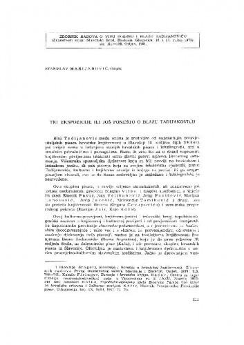Tri ekspozicije ili još ponešto o Blažu Tadijanoviću / S. Marijanović