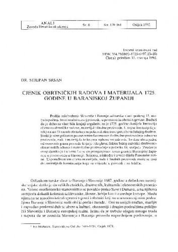 Cjenik obrtničkih radova i materijala 1725. godine u baranjskoj županiji / Stjepan Sršan