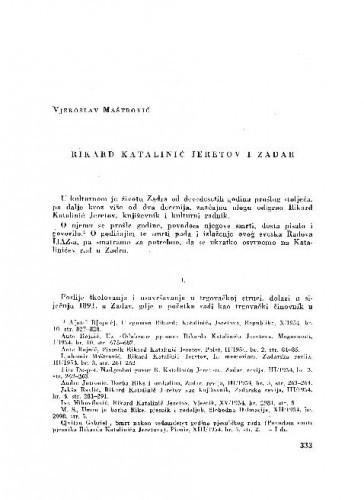 Rikard Katalinić Jeretov i Zadar / Vjekoslav Maštrović