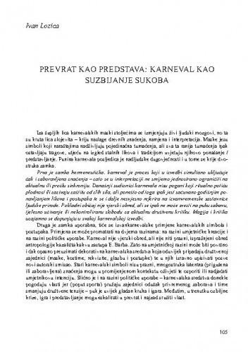 Prevrat kao predstava: karneval kao suzbijanje sukoba / Ivan Lozica