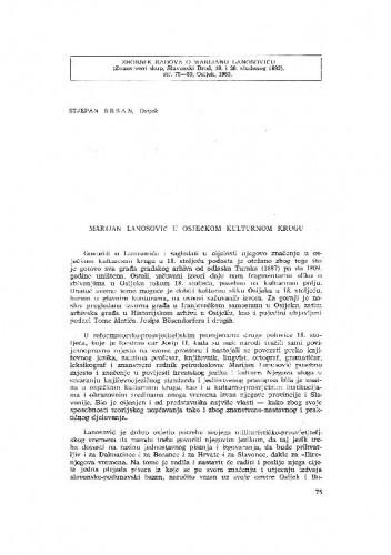 Marijan Lanosović u osječkom kulturnom krugu / Stjepan Sršan