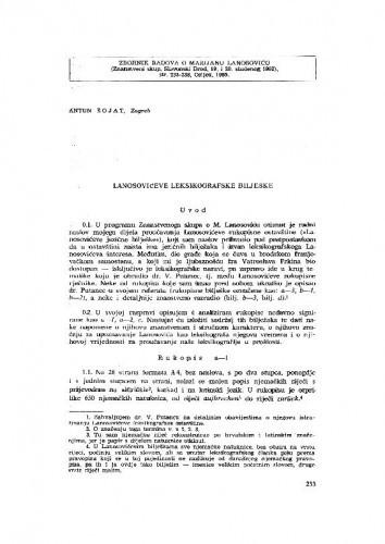 Lanosovićeve leksikografske bilješke / A. Šojat