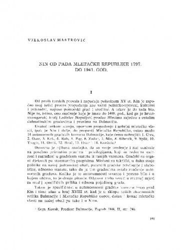Nin od pada Mletačke Republike 1797. do 1941. god. / Vjekoslav Maštrović