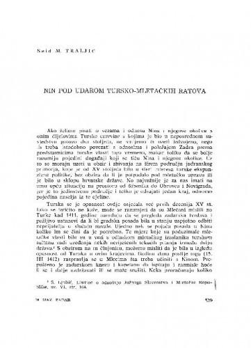 Nin pod udarom tursko-mletačkih ratova / Seid M. Traljić