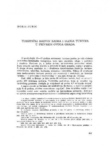Turistički razvoj Zadra i uloga turizma u privredi ovoga grada / Boris Jurić