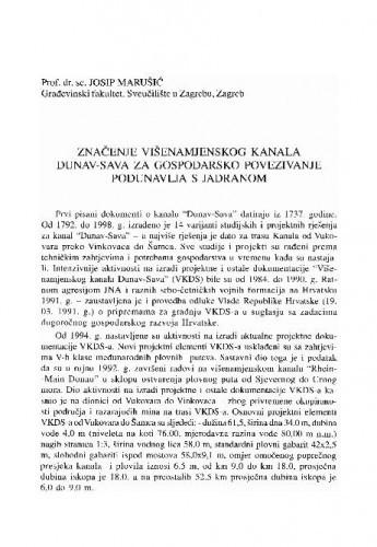 Značenje višenamjenskog kanala Dunav-Sava za gospodarsko povezivanje Podunavlja s Jadranom / Josip Marušić