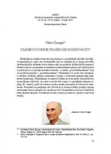 Dileme povijesne projekcije književnosti / Viktor Žmegač