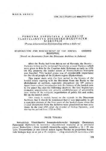 Ponovna uspostava i uređenje vlastelinstva bosansko-đakovačke biskupije / Marin Srakić