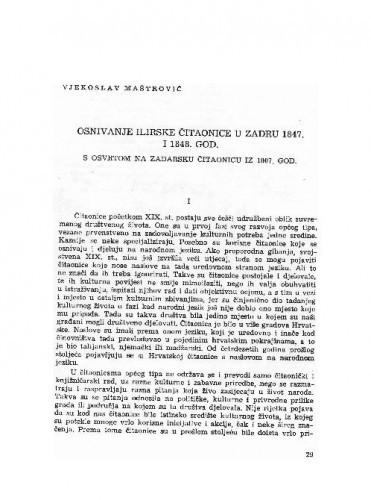 Osnivanje Ilirske čitaonice u Zadru 1847. i 1848. godine : s osvrtom na Zadarku čitaonicu iz 1807. god. / Vjekoslav Maštrović