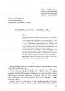 Bosna i Hercegovina i Evropska unija / Vesna Kazazić