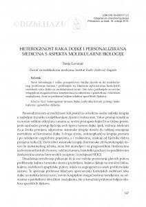 Heterogenost raka dojke i personalizirana medicina s aspekta molekularne biologije / Sonja Levanat