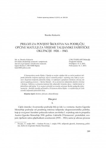 Prilozi za povijest školstva na području Općine Matulji za vrijeme talijanske fašističke okupacije 1920. - 1943 / Branko Kukurin