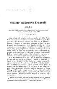 Aleksander Aleksandrović Kotljarevskij : nekrolog / F. Rački