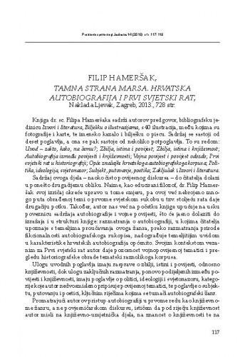 Filip Hameršak, Tamna strana Marsa. Hrvatska autobiografija i Prvi svjetski rat. Naklada Ljevak, Zagreb, 2013. : [prikaz] / Maja Polić