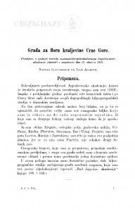 Građa za floru kraljevine Crne Gore / L. Adamović