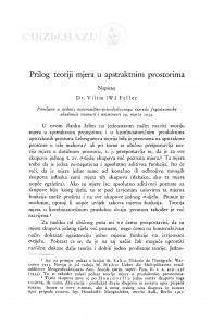 Prilog teoriji mjera u apstraktnim prostorima / V. Feller