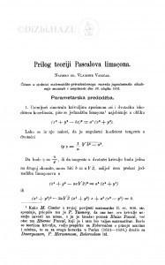 Prilog teoriji Pascalova limaçona / V. Varićak