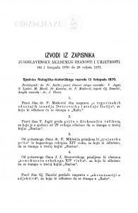 Izvodi iz zapisnika Jugoslavenske akademije znanosti i umjetnosti [1870-1871]