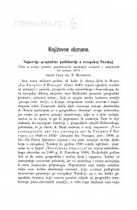 Najnovije geografske publikacije o evropskoj Turskoj : [književna obznana] / P. Matković