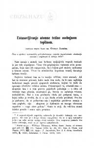 Ustanovljivanje atomne težine osebujnom toplinom / G. Janeček
