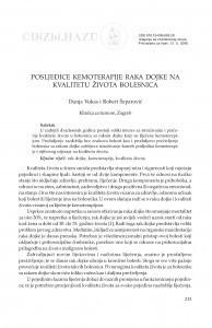 Posljedice kemoterapije raka dojke na kvalitetu života bolesnica / Dunja Vukas, Robert Šeparović