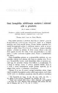 Osni kompleks ništičnoga sustava i sistemi silâ u prostoru / J. Majcen