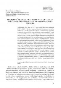 Klasicistička estetika i prosvjetiteljske ideje u književnim opusima Giulija Bajamontija i Luke Stullija / Katarina Dalmatin