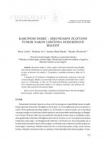Karcinom dojke - sekundarni zloćudni tumor nakon liječenja Hodgkinove bolesti / Boris Labar, Ivo Radman, Sandra Bašić-Kinda, Branka Petričević