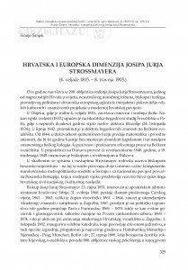 Hrvatska i europska dimenzija Josipa Jurja Strossmayera : (4. veljače 1815. - 8. travnja 1905.) / Franjo Šanjek