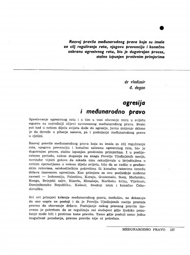 Agresija i međunarodno pravo / Vladimir Đ. Degan