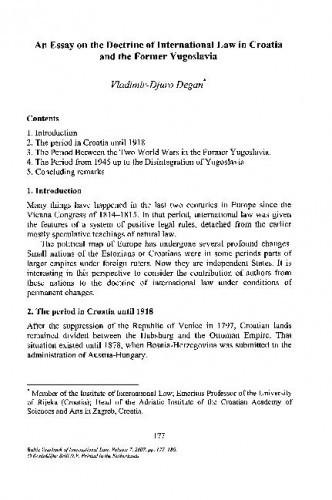 An Essay on the Doctrine of International Law in Croatia and the former Yugoslavia / Vladimir-Djuro Degan